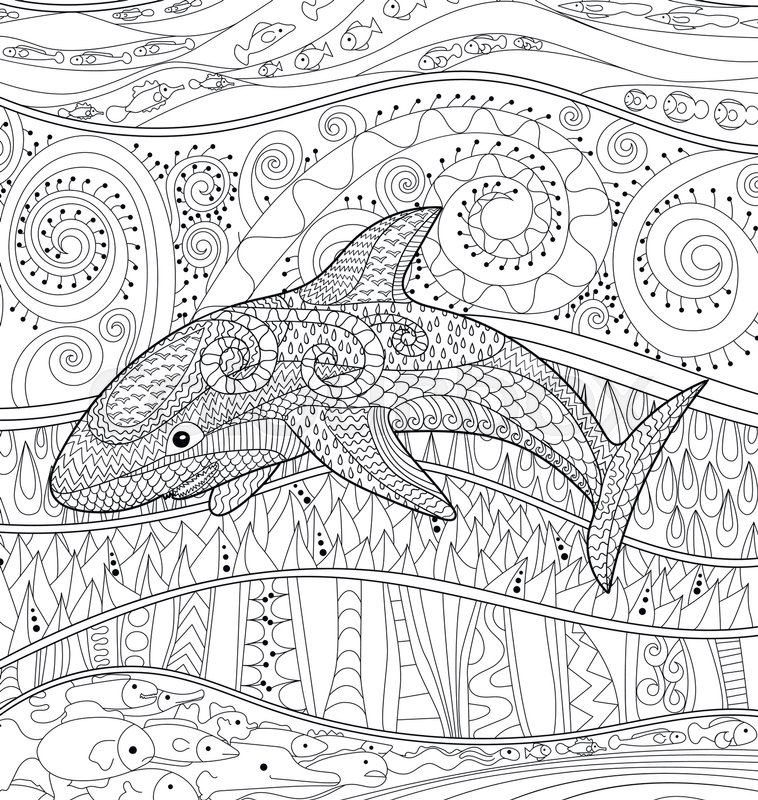 Happy Shark With High Details Adult Antistress Coloring