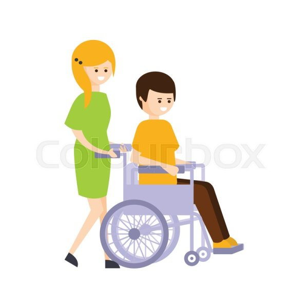 Disabled Person in Wheelchair Cartoon