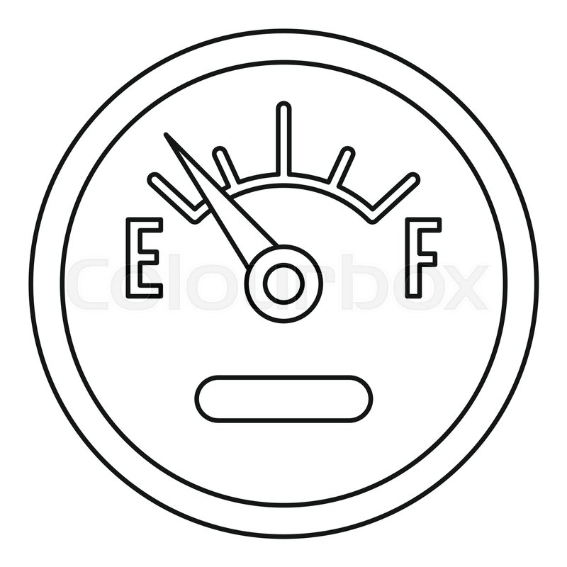 Fuel gauge showing empty icon. Outline illustration of