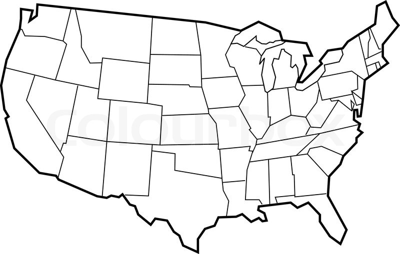 Vector map of USA. Empty template for your designs