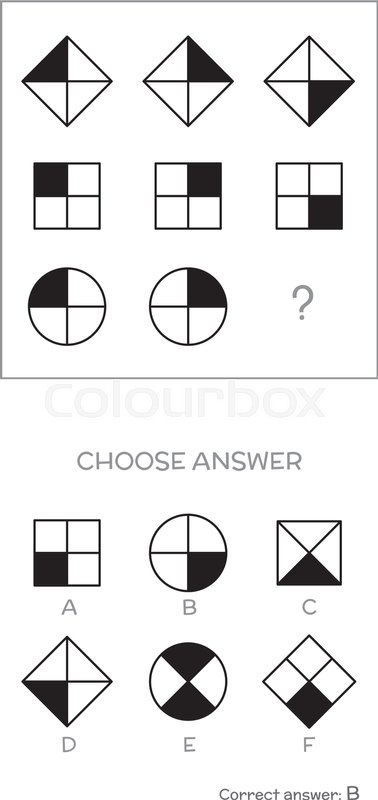 IQ test. Choose correct answer. Logical tasks composed of