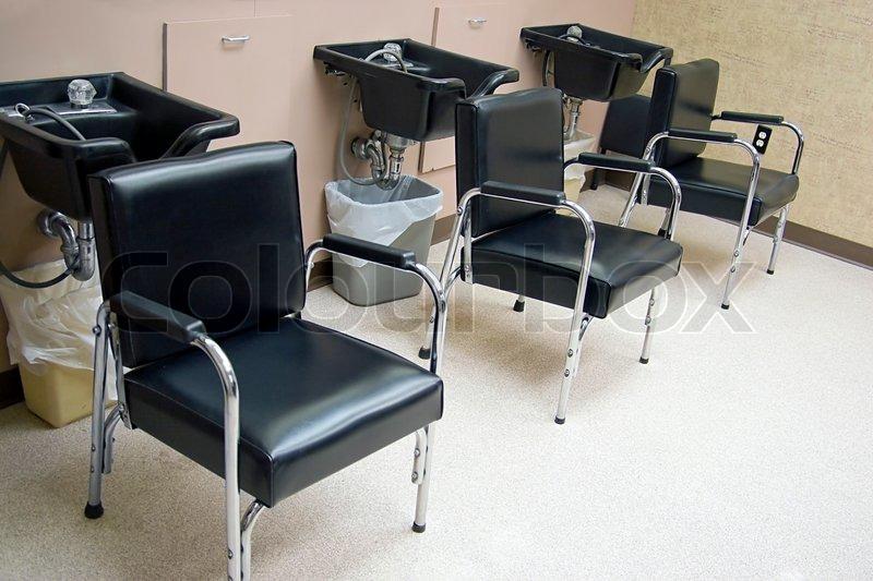 hair salon a row of hair washing