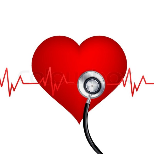 Illustration Of Healthy Heart With Stethoscope White