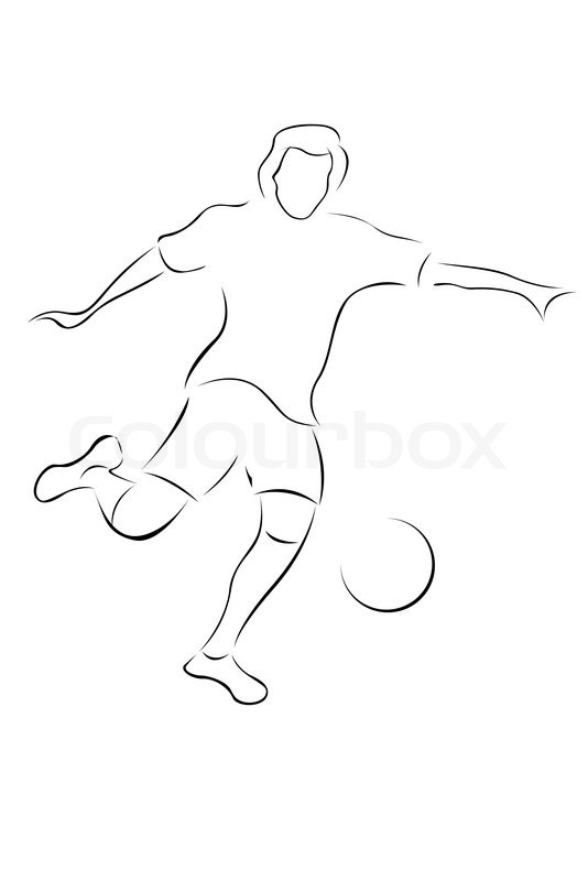 Illustration af skitse af fodboldspiller på hvid baggrund