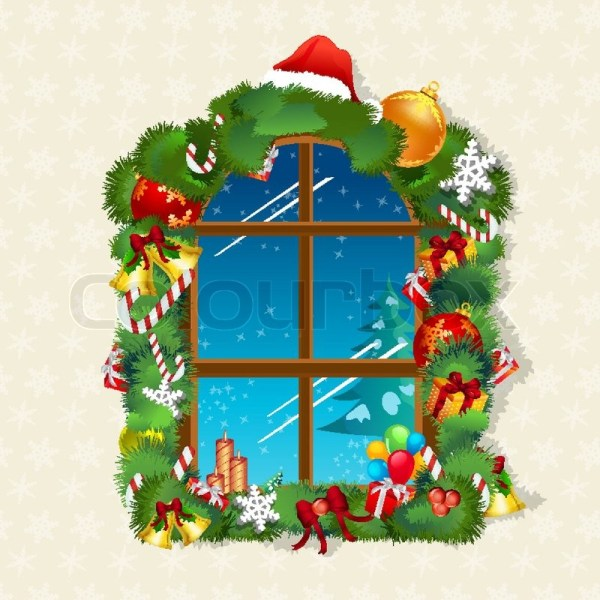 Illustration Of Christmas Card With Window