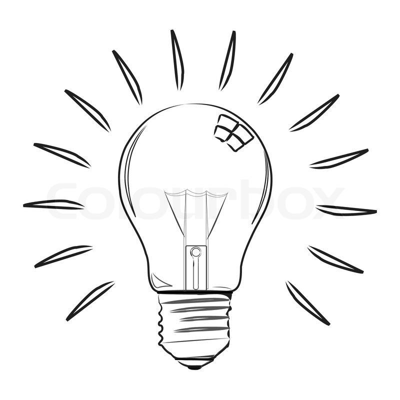 Illustration of sketchy electric bulb on white background