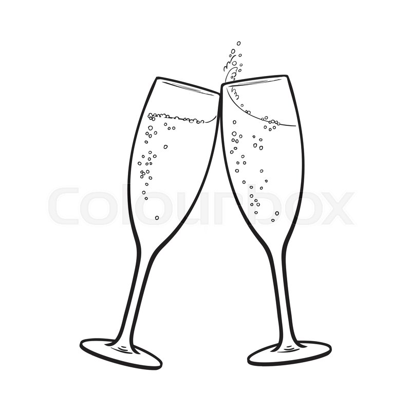 Pair of champagne glasses, set of sketch style vector