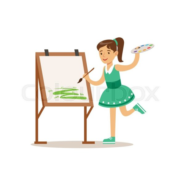 Girl Painting Creative Child Practicing Arts In Art Class