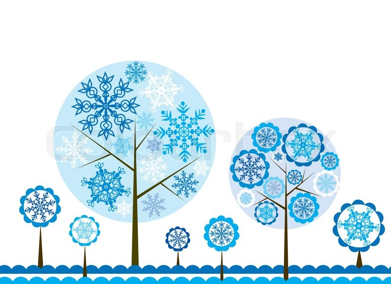 Fall Themed Wallpaper Desktop Tree Winter Background Vector Illustration Stock Vector