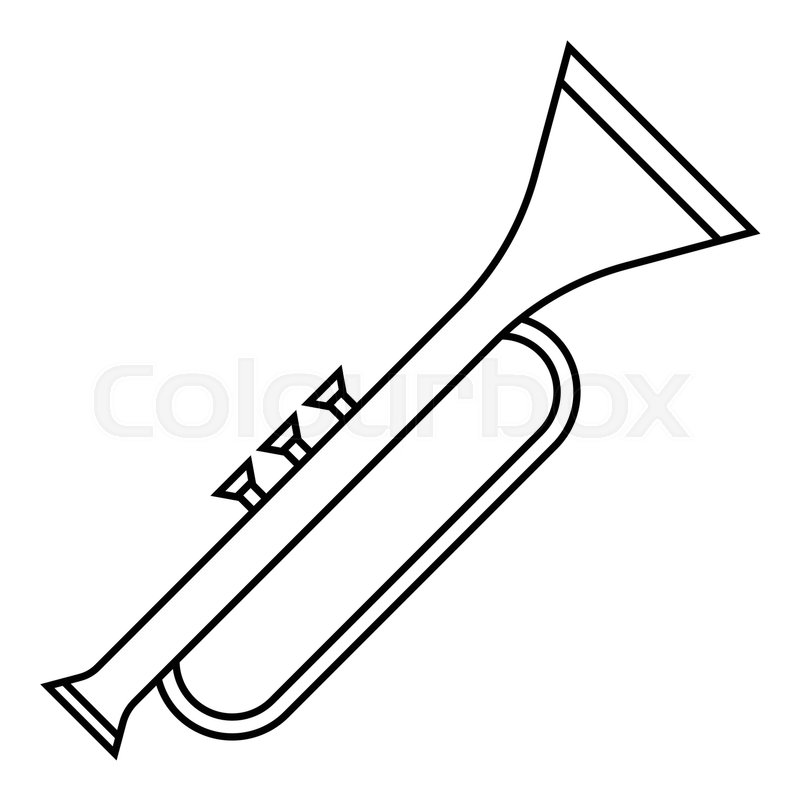 Trumpet icon. Outline illustration of trumpet vector icon