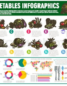 Vegetables infographics vector graph charts or diagrams of consumption vitamines veggies nutrition facts vegetarian healthy food statistics squash also rh colourbox