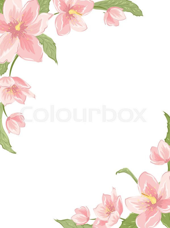 Awesome Cute Binder Wallpapers That Are Printable Corner Frame Template With Sakura Stock Vector