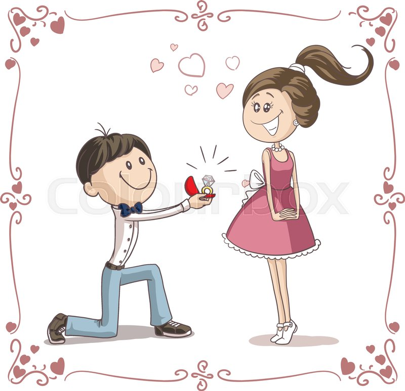 Vector Of A Boyfriend Giving An Engagement Ring To His
