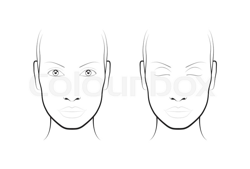 Young woman portrait. Face chart Makeup Artist Blank