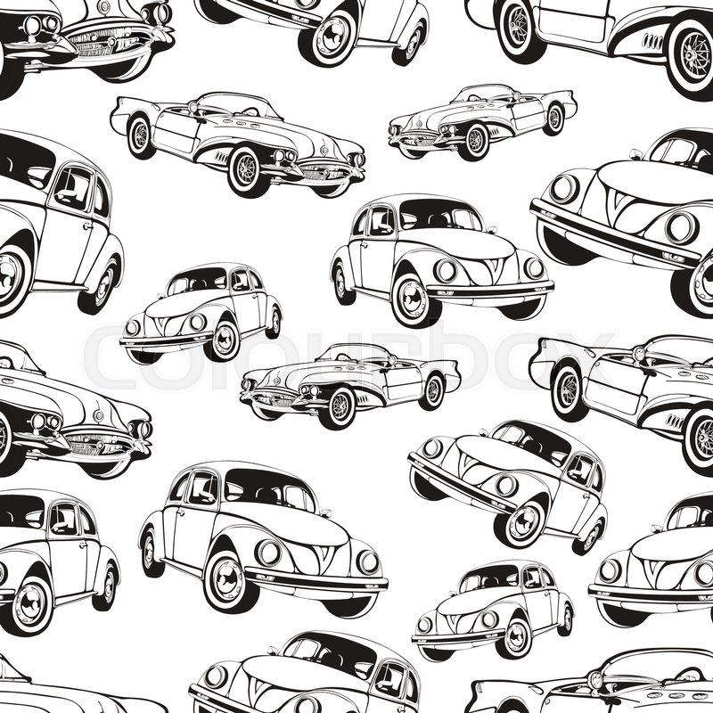 Vintage car seamless pattern, black and white retro