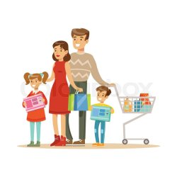 Family Of Fourt Shopping In Department Stock vector Colourbox
