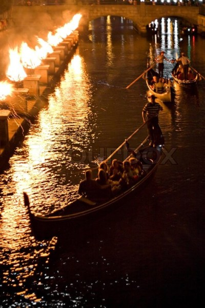 Gondolas on the canal at night during a Providence Rhode ...