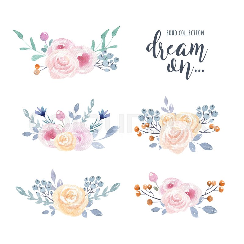Cute Designs For Wallpapers Arrows Set Of Watercolor Boho Floral Bouquets Stock Image