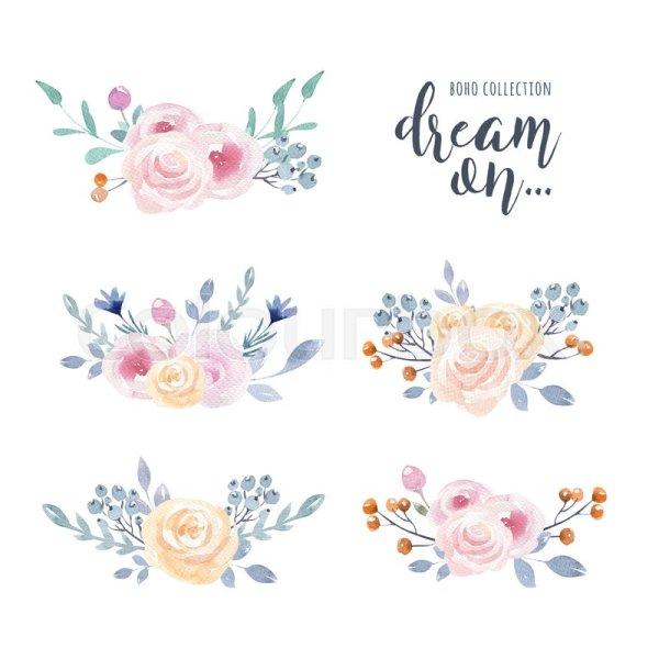 Boho Watercolor Flower Clip Art
