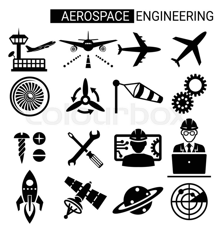Set of aerospace engineering icon design for airplane and