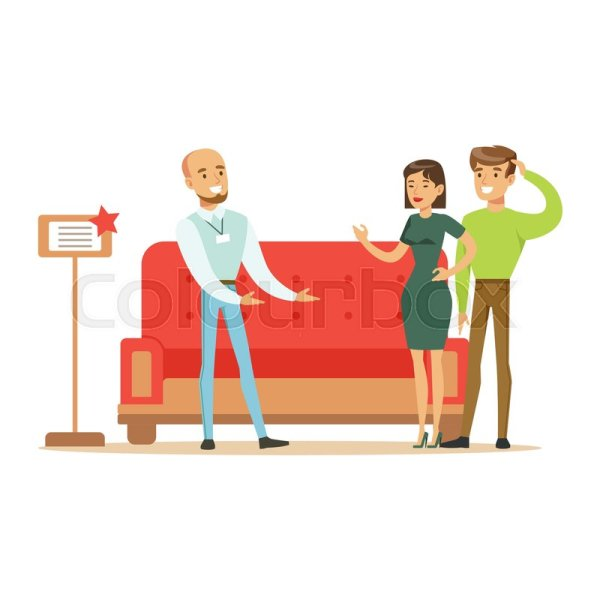 Store Seller Selling Red Sofa . Stock Vector