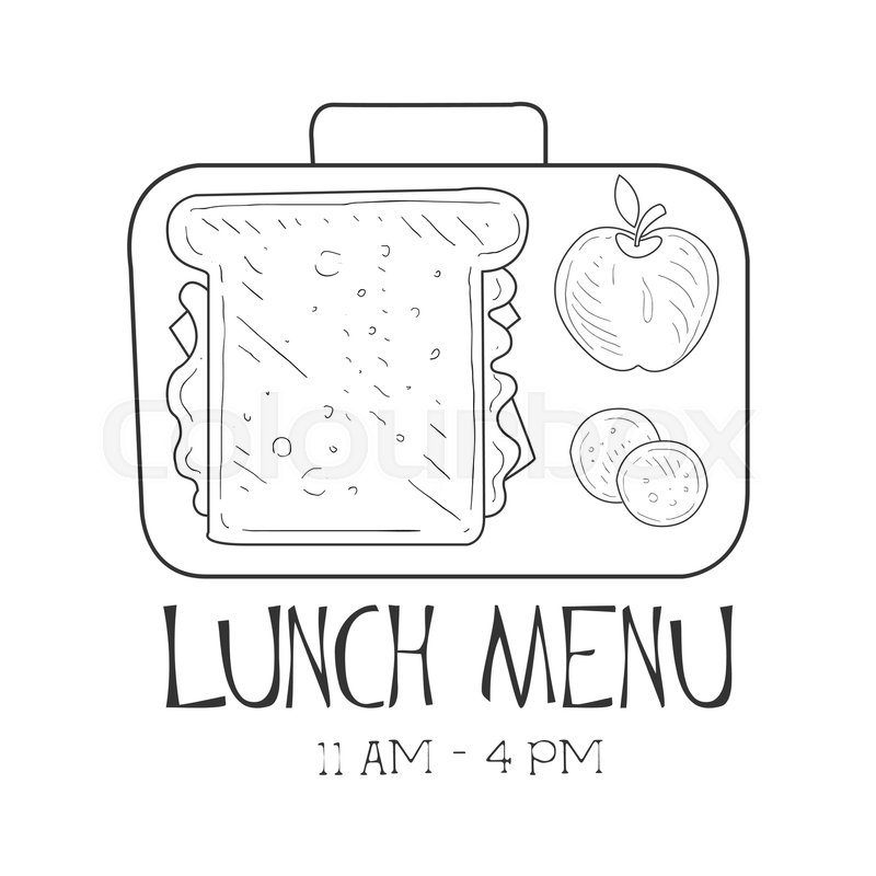 School Lunchbox Cafe Lunch Menu Promo Sign In Sketch Style