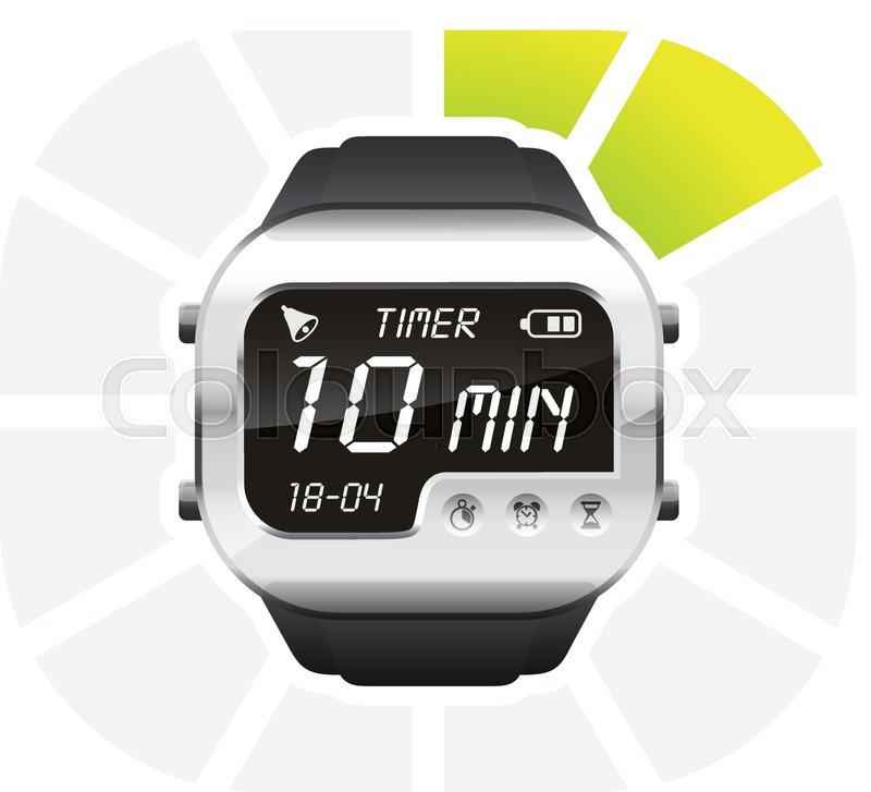 Digital Watch Timer 10 Minutes Vector Stock Vector Colourbox teacher