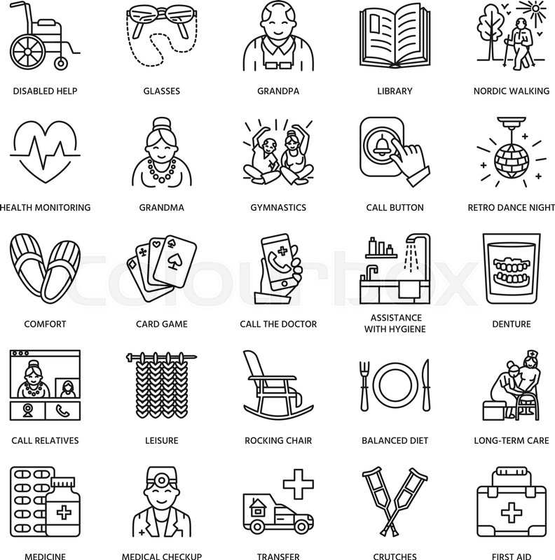 Vector line icon of senior and elderly care. Nursing home