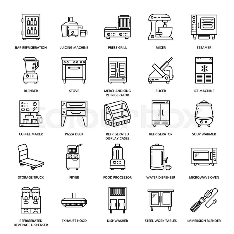Restaurant professional equipment line icons. Kitchen