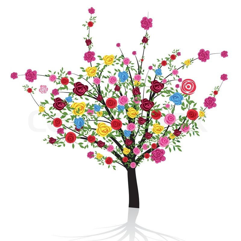 Abstrakte bunte Baum mit Blume Rose VektorIllustration