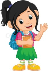 Illustration of Cute girl go to school Stock vector Colourbox