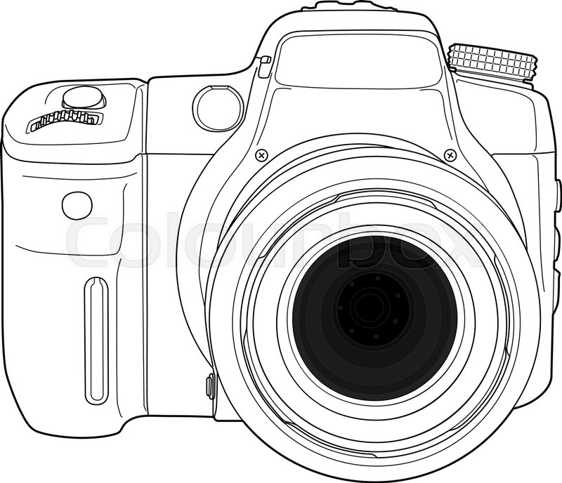 Modern digital photo camera technical draw illustration