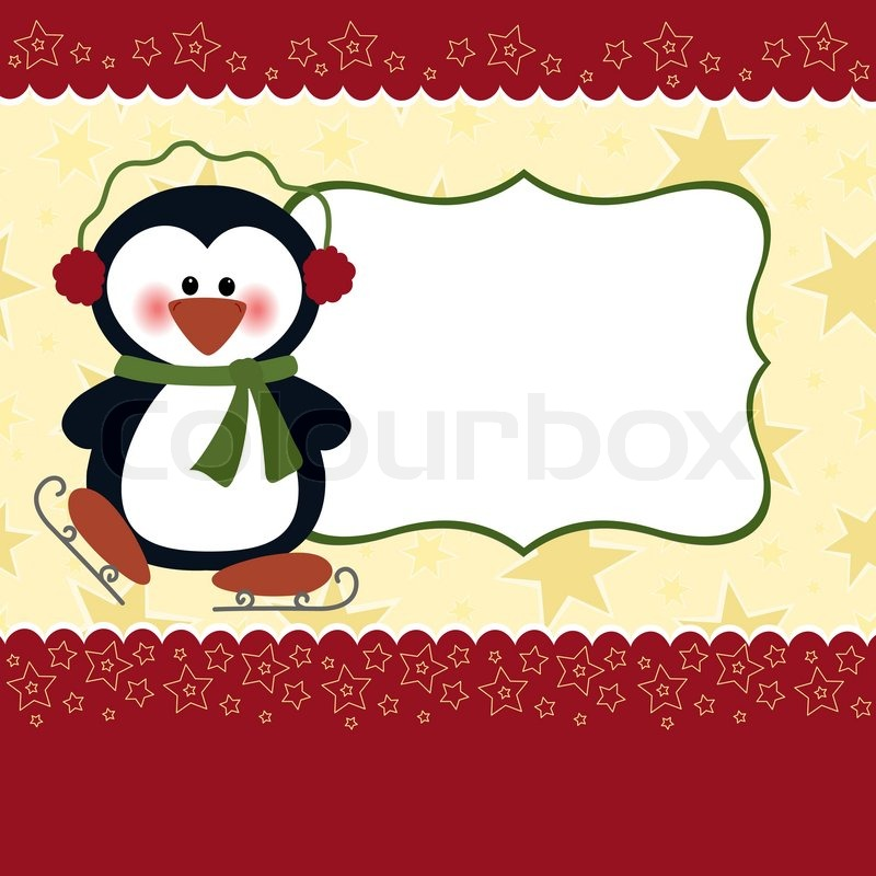 Blank Template For Christmas Greetings Card Postcard Or