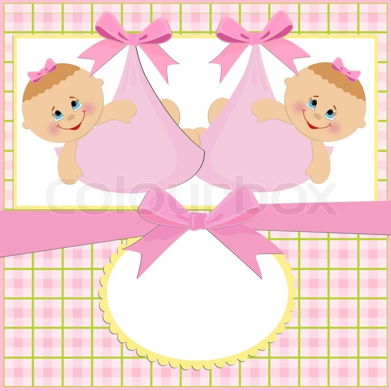 Baby Greetings Card With Twins Girls Stock Vector