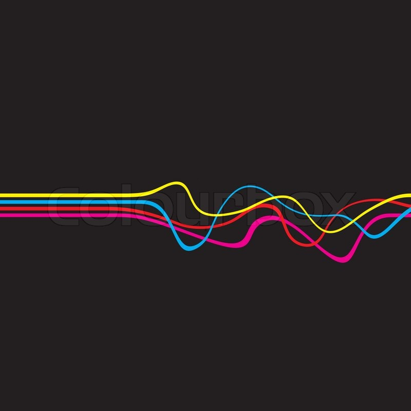 Abstract layout with wavy lines in a cmyk color schemeThis vector image is fully editable