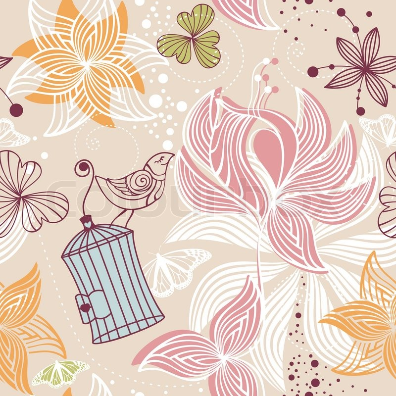 Fall And Autumn Wallpaper Abstract Seamless Cute Floral Stock Vector Colourbox