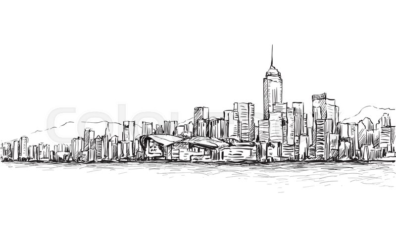 Sketch of cityscape in Hong Kong show townscape and
