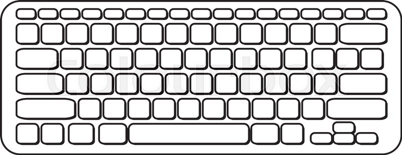 Vector portable computer keyboard. Black and white icon