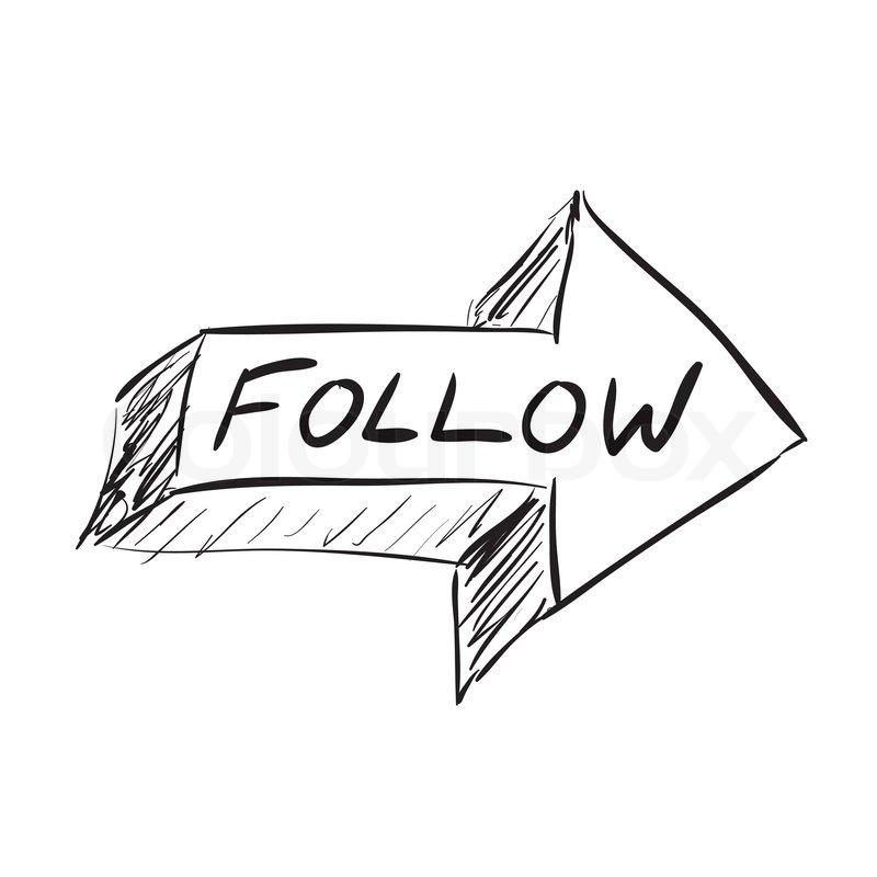 Follow arrow icon sketched in black in vector format