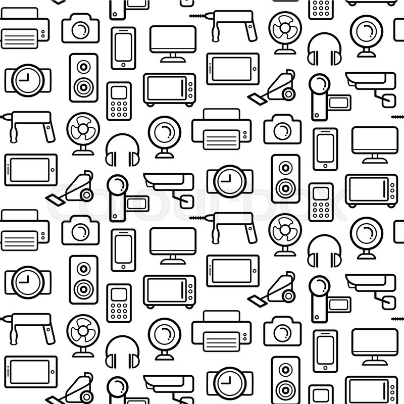 Vector seamless pattern of electrical engineering