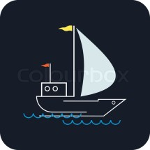 Yacht Sails Waves Stylized Of