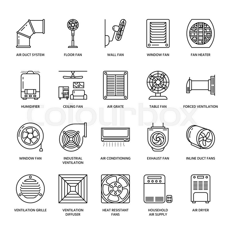 Ventilation equipment line icons. Air conditioning