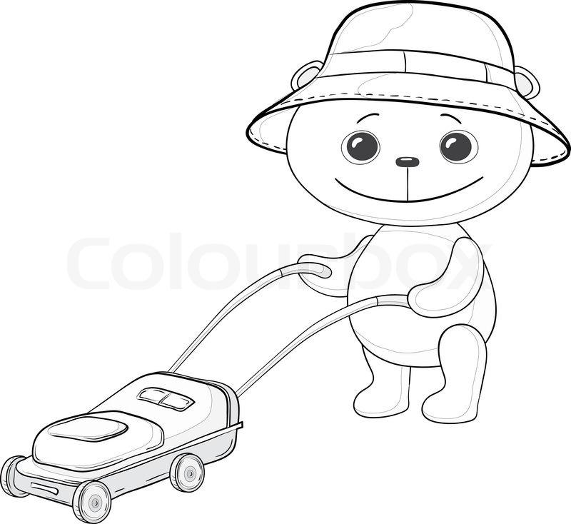 Vector cartoon, teddy bear lawnmower work with the lawn