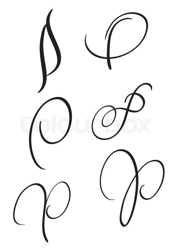 P Calligraphy : calligraphy, Calligraphy, Letter, Stock, Vector, Colourbox