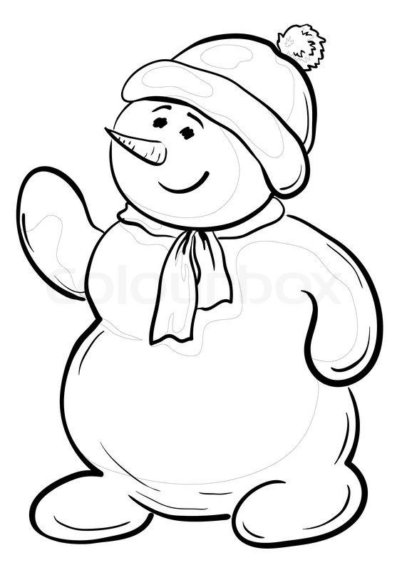 Tegneserie , snemænd dreng i en hue og halstørklæde