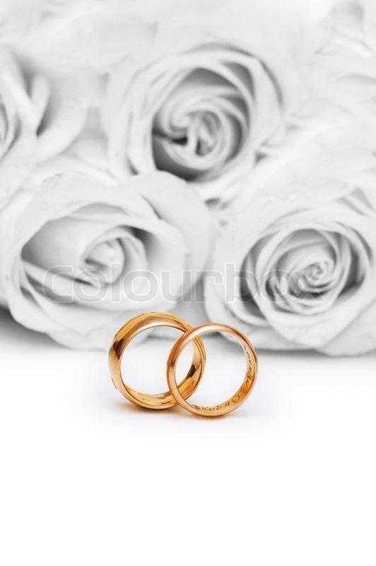Hochzeit Konzept mit Rosen und Ringe  Stockfoto  Colourbox