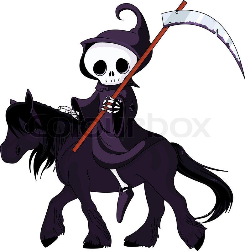 Cute Cartoon Grim Reaper With Scythe Stock Vector