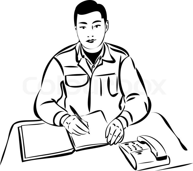 Skizze eines Mannes am Tisch schriftlich in einem Notebook