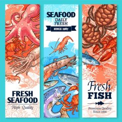 Kitchen Cart Plans St Charles Cabinets Fish And Seafood Sketch Banner Set. Fresh Crab, Salmon ...