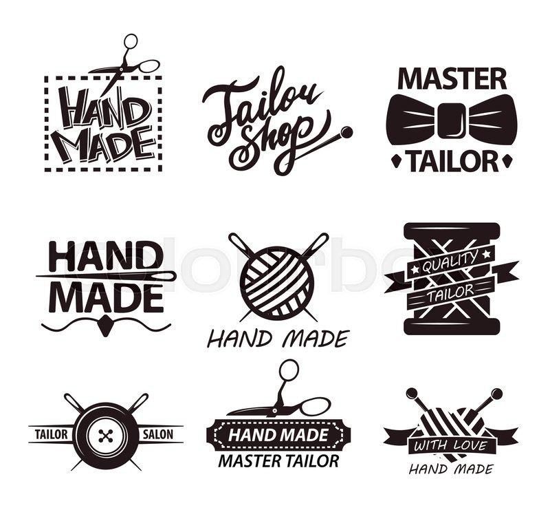 Tailor salon advertisement logotypes. Set of logos for